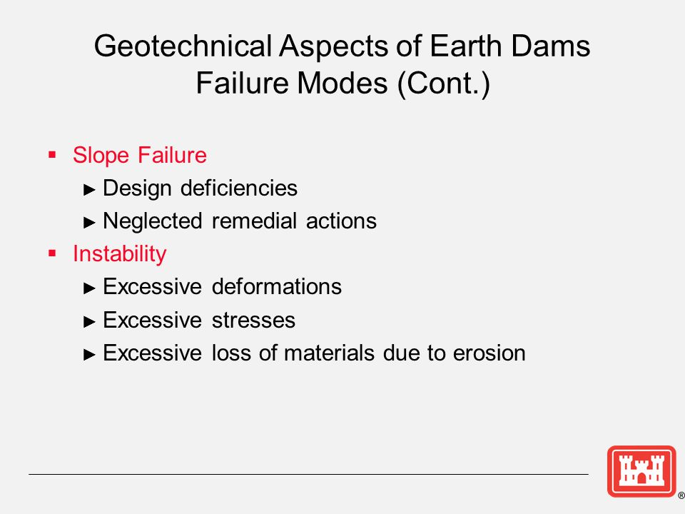 Geotechnical Aspects of Earth Dams Failure Modes (Cont.)