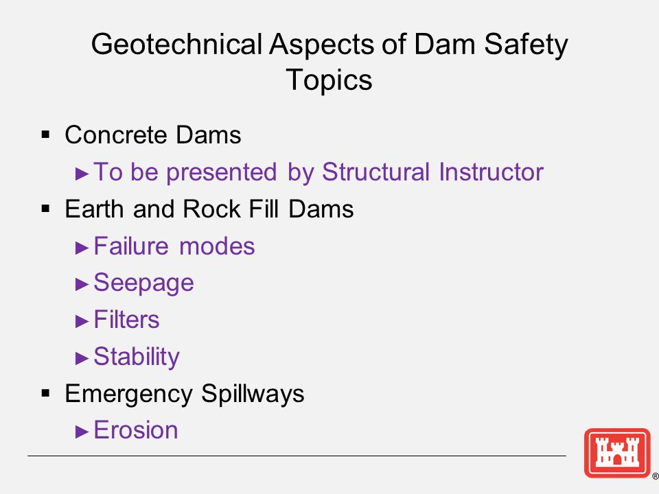 Geotechnical Aspects of Dam Safety Topics