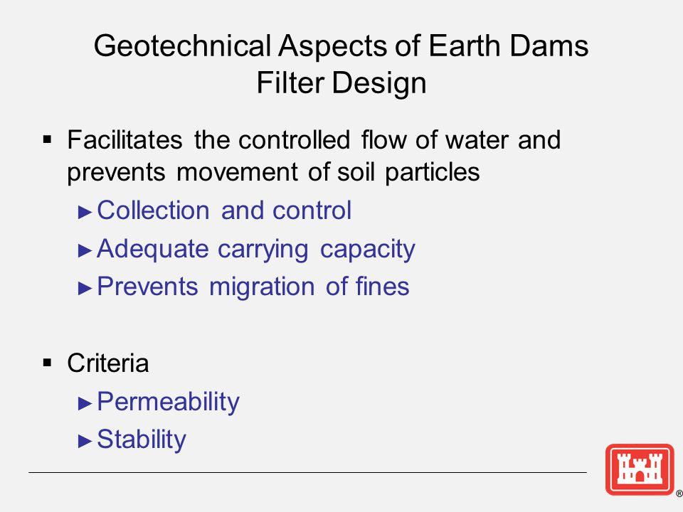 Geotechnical Aspects of Earth Dams Filter Design