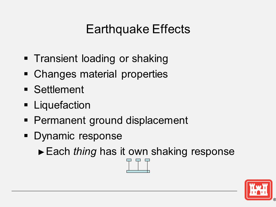 Earthquake Effects Transient loading or shaking