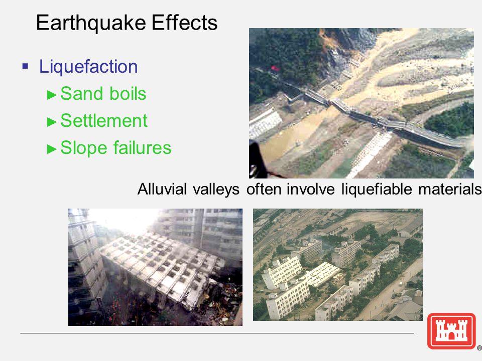 Earthquake Effects Liquefaction Sand boils Settlement Slope failures