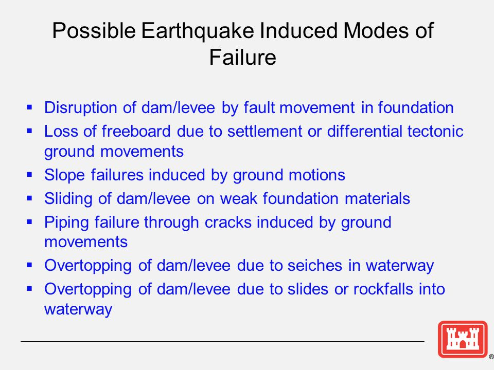 Possible Earthquake Induced Modes of Failure