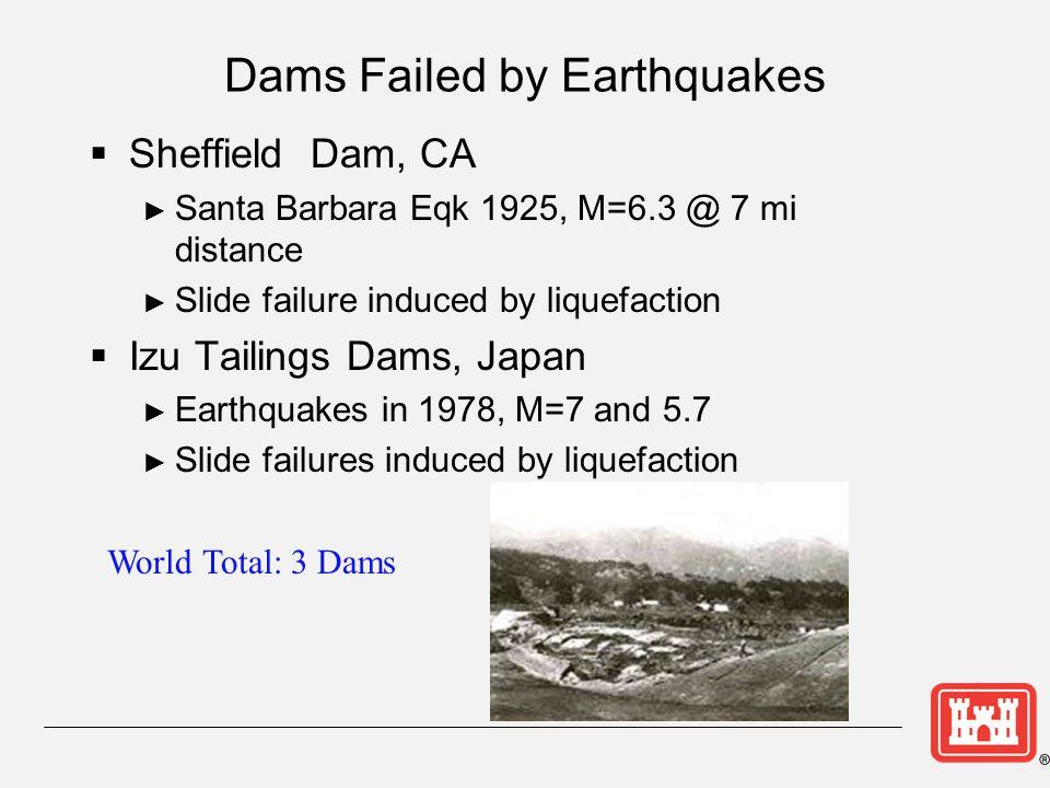 Dams Failed by Earthquakes