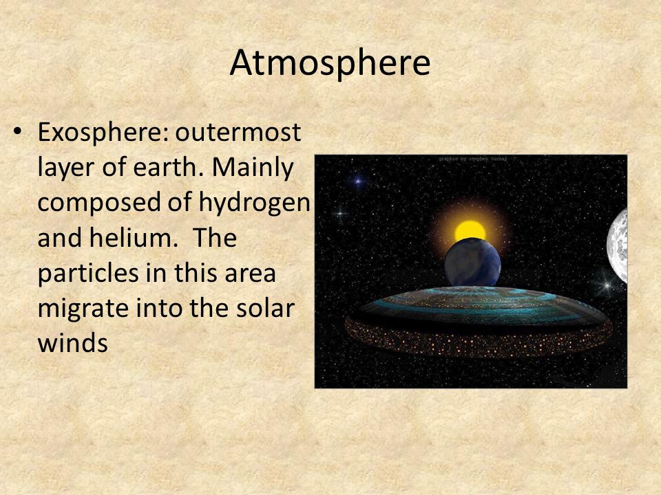 Atmosphere Exosphere: outermost layer of earth. Mainly composed of hydrogen and helium.