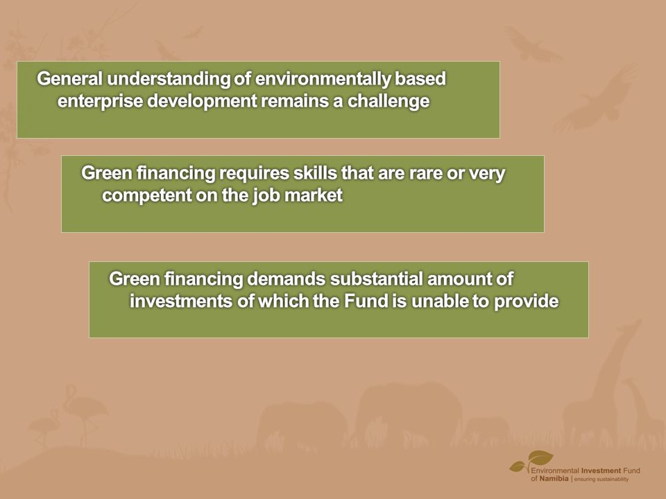 General understanding of environmentally based enterprise development remains a challenge