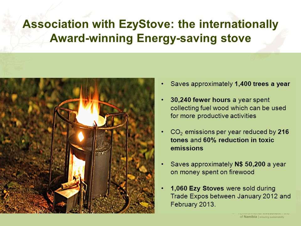 Association with EzyStove: the internationally Award-winning Energy-saving stove