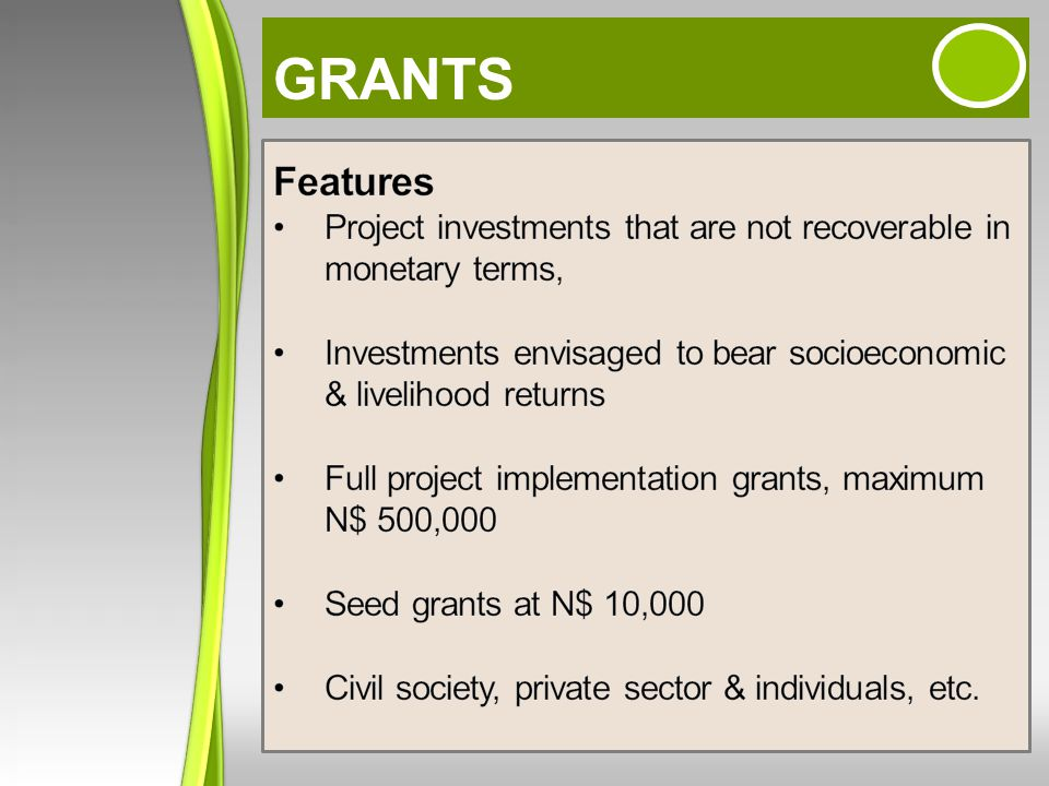 GRANTS Features. Project investments that are not recoverable in monetary terms, Investments envisaged to bear socioeconomic & livelihood returns.
