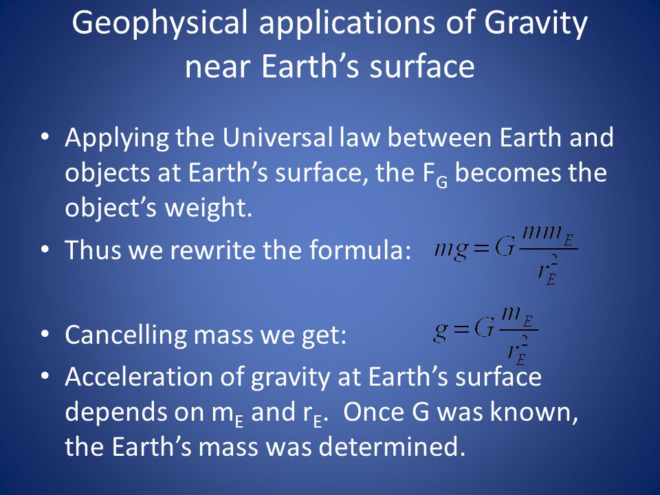 Geophysical applications of Gravity near Earth's surface