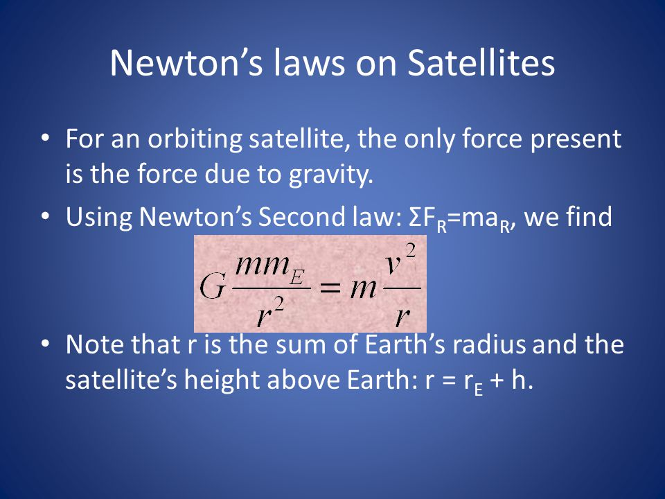 Newton's laws on Satellites