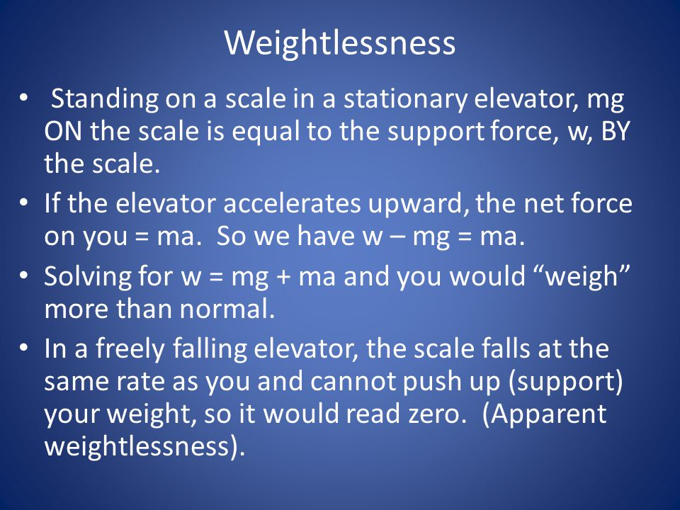 Weightlessness Standing on a scale in a stationary elevator, mg ON the scale is equal to the support force, w, BY the scale.