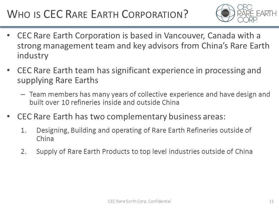 Who is CEC Rare Earth Corporation