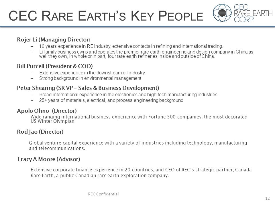 CEC Rare Earth's Key People