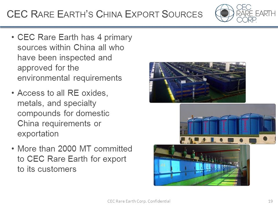 CEC Rare Earth's China Export Sources