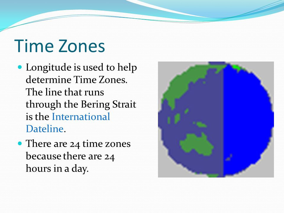 Time Zones Longitude is used to help determine Time Zones. The line that runs through the Bering Strait is the International Dateline.