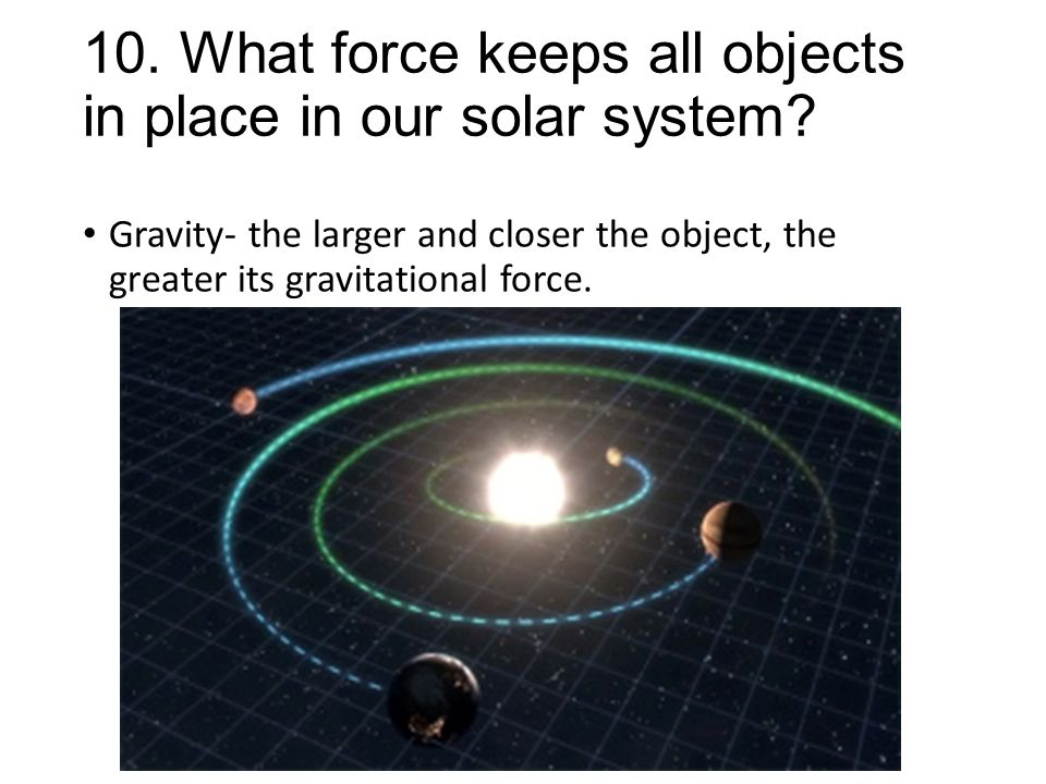 10. What force keeps all objects in place in our solar system