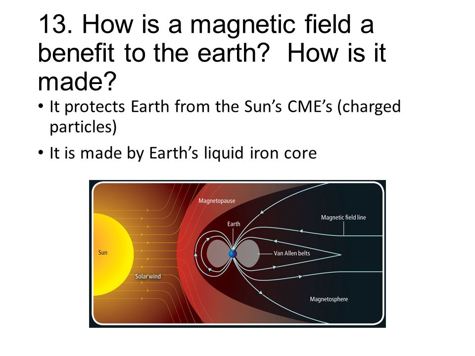 13. How is a magnetic field a benefit to the earth How is it made
