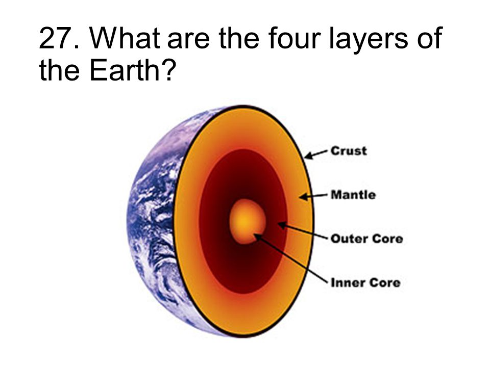 27. What are the four layers of the Earth