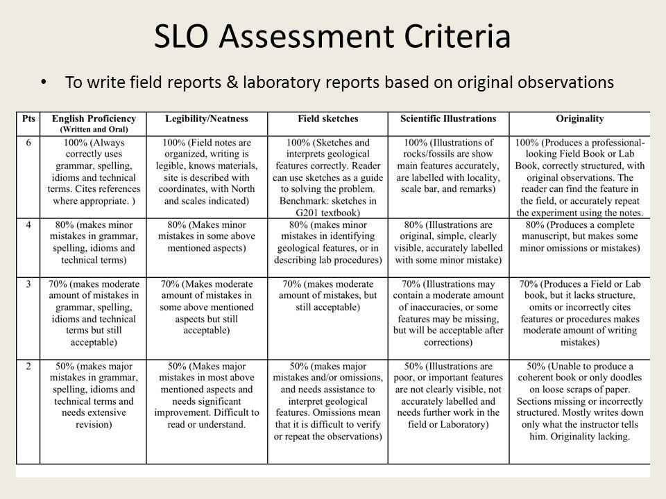 SLO Assessment Criteria