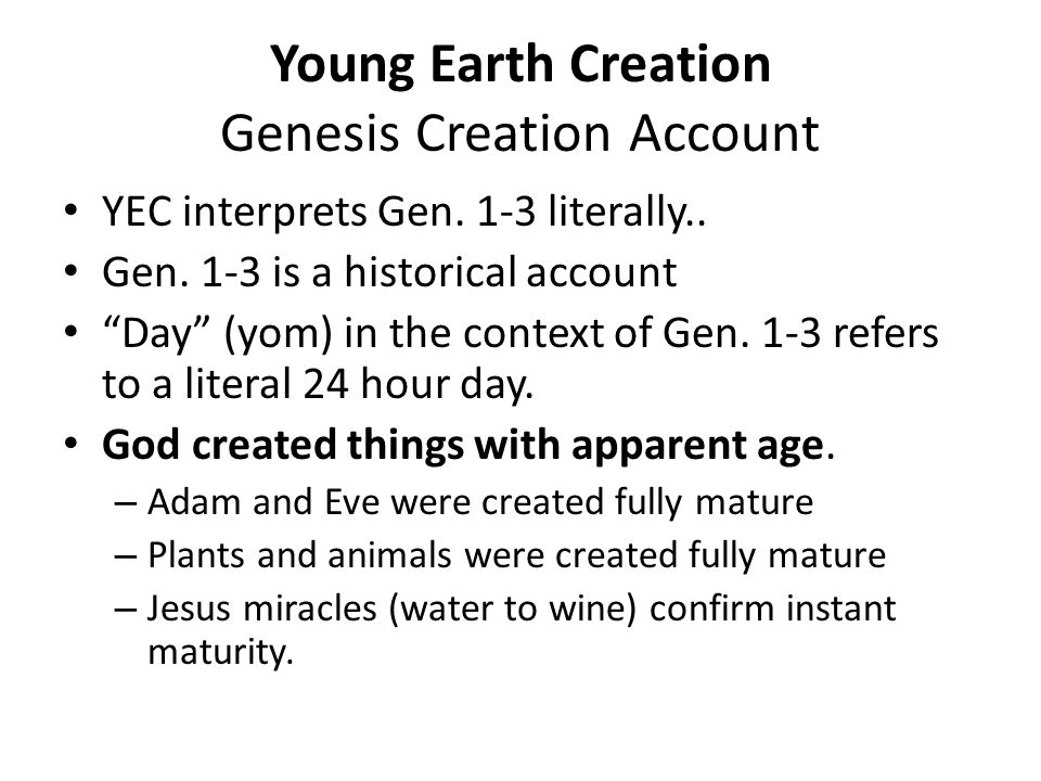 Young Earth Creation Genesis Creation Account