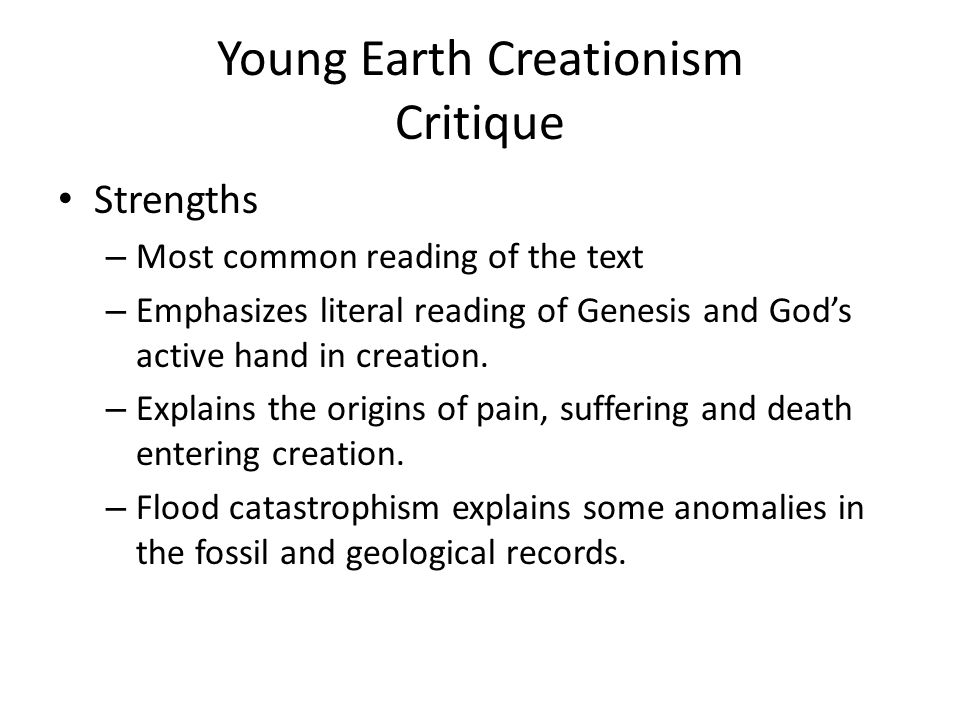 Young Earth Creationism Critique
