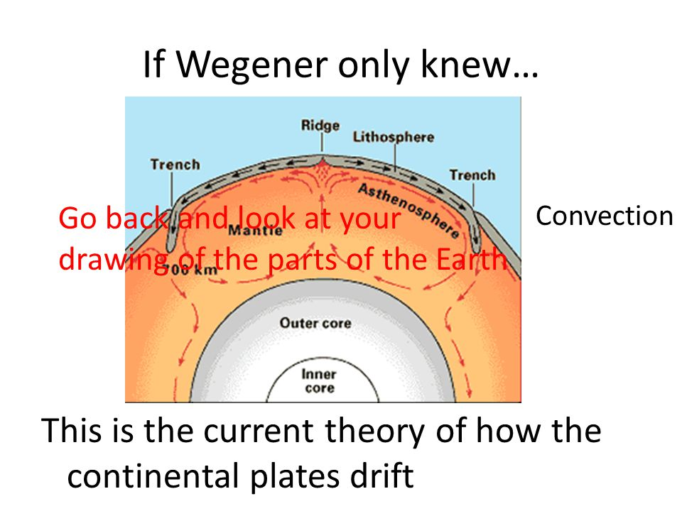 If Wegener only knew… Go back and look at your drawing of the parts of the Earth. Convection.