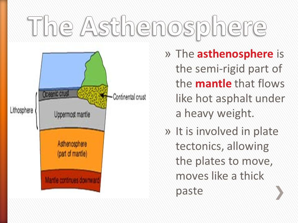 The Asthenosphere The asthenosphere is the semi-rigid part of the mantle that flows like hot asphalt under a heavy weight.