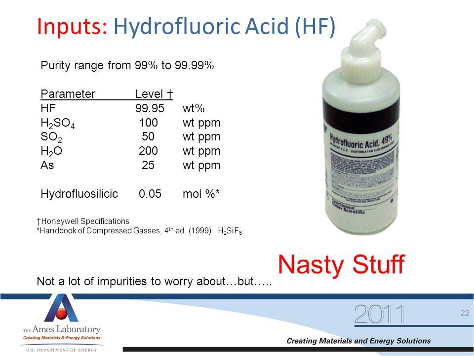 Nasty Stuff Inputs: Hydrofluoric Acid (HF)