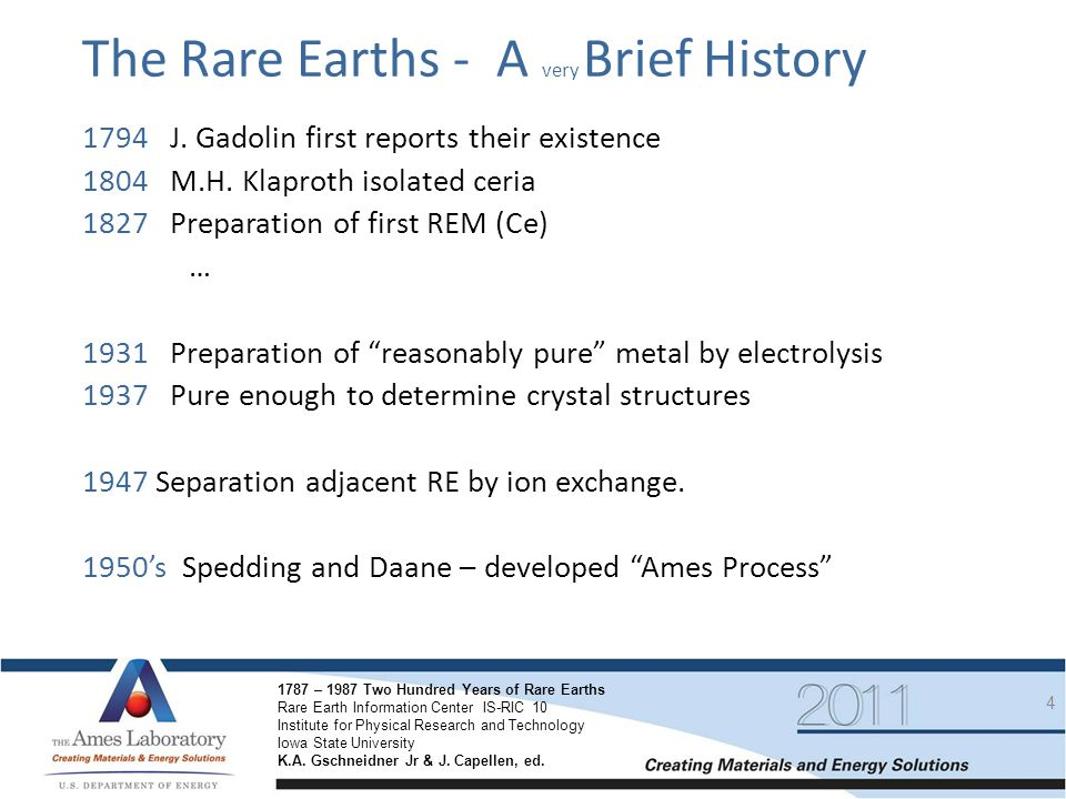 The Rare Earths - A very Brief History