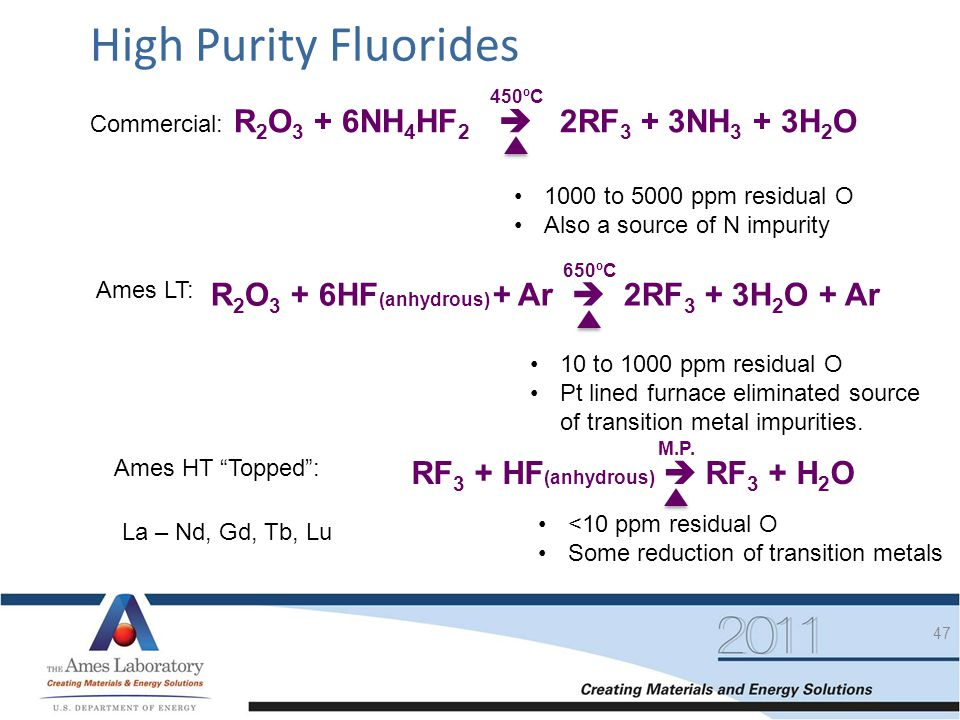 High Purity Fluorides R2O3 + 6NH4HF2  2RF3 + 3NH3 + 3H2O