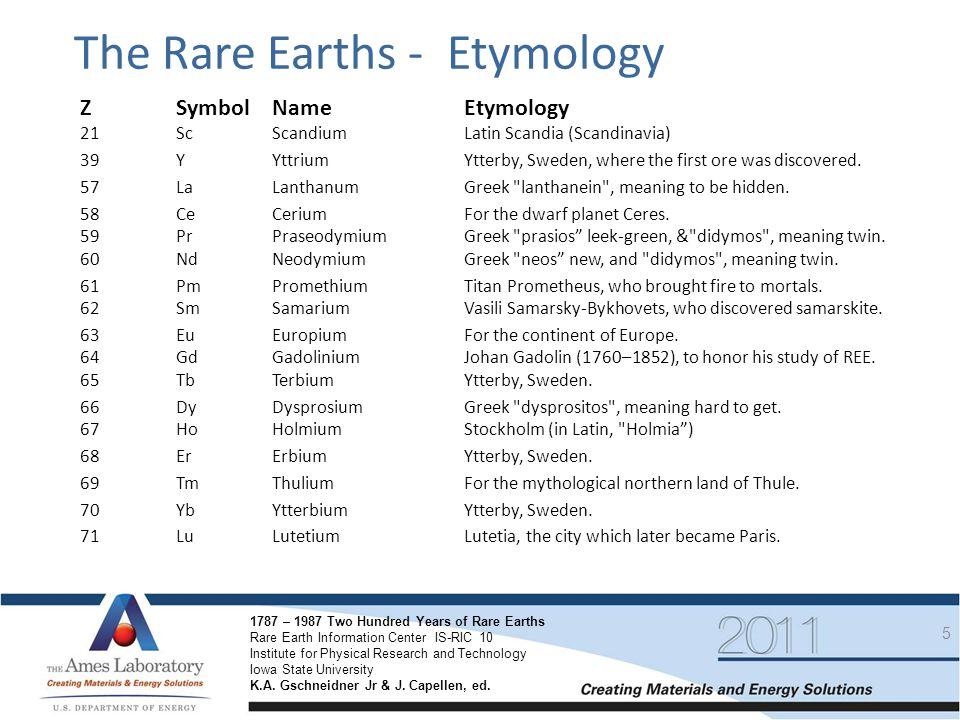 The Rare Earths - Etymology