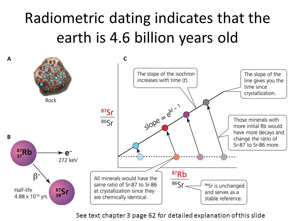 Radiometric dating indicates that the earth is 4.6 billion years old