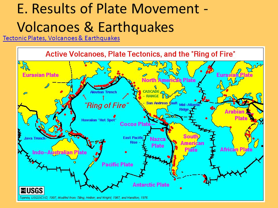 E. Results of Plate Movement -Volcanoes & Earthquakes