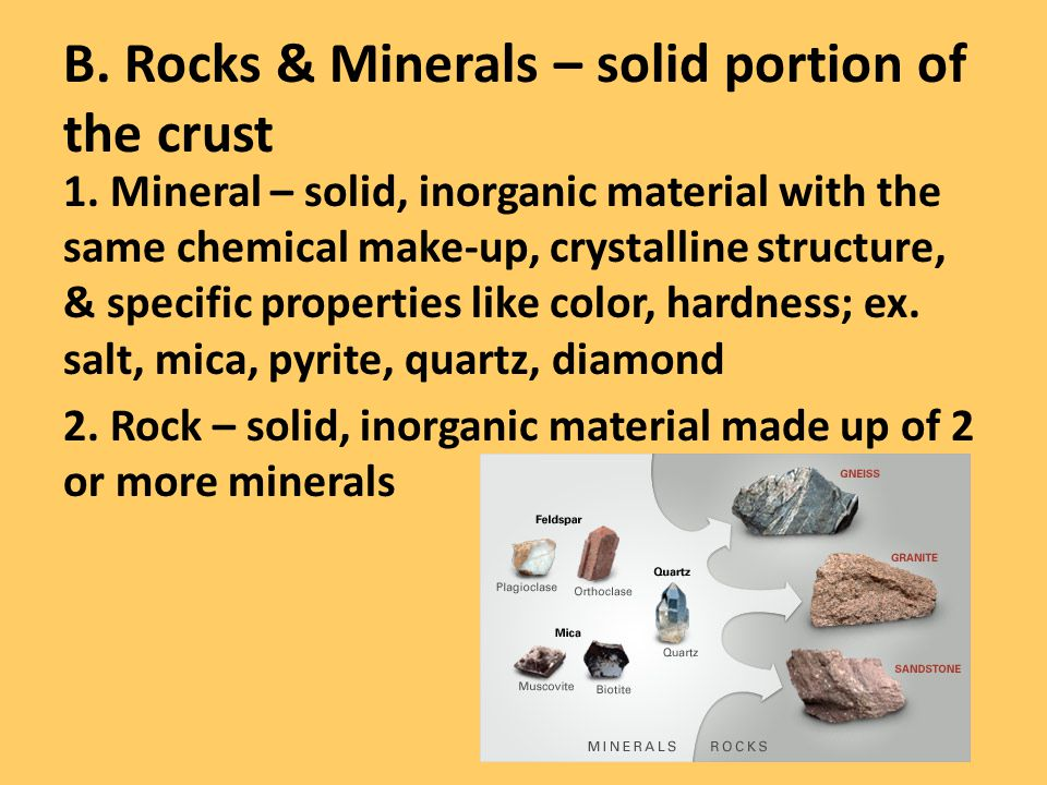 B. Rocks & Minerals – solid portion of the crust