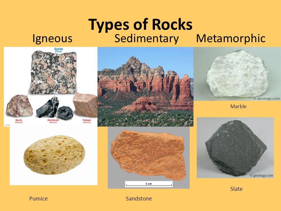Types of Rocks Igneous Sedimentary Metamorphic Marble Slate