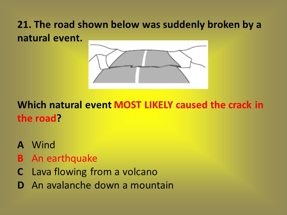 21. The road shown below was suddenly broken by a natural event