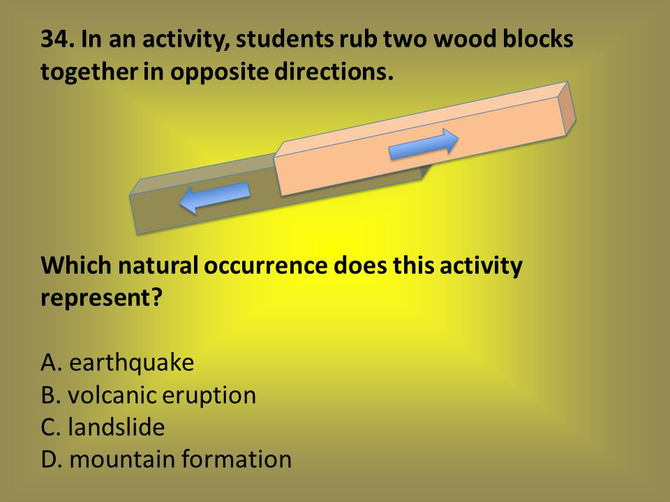 34. In an activity, students rub two wood blocks together in opposite directions.