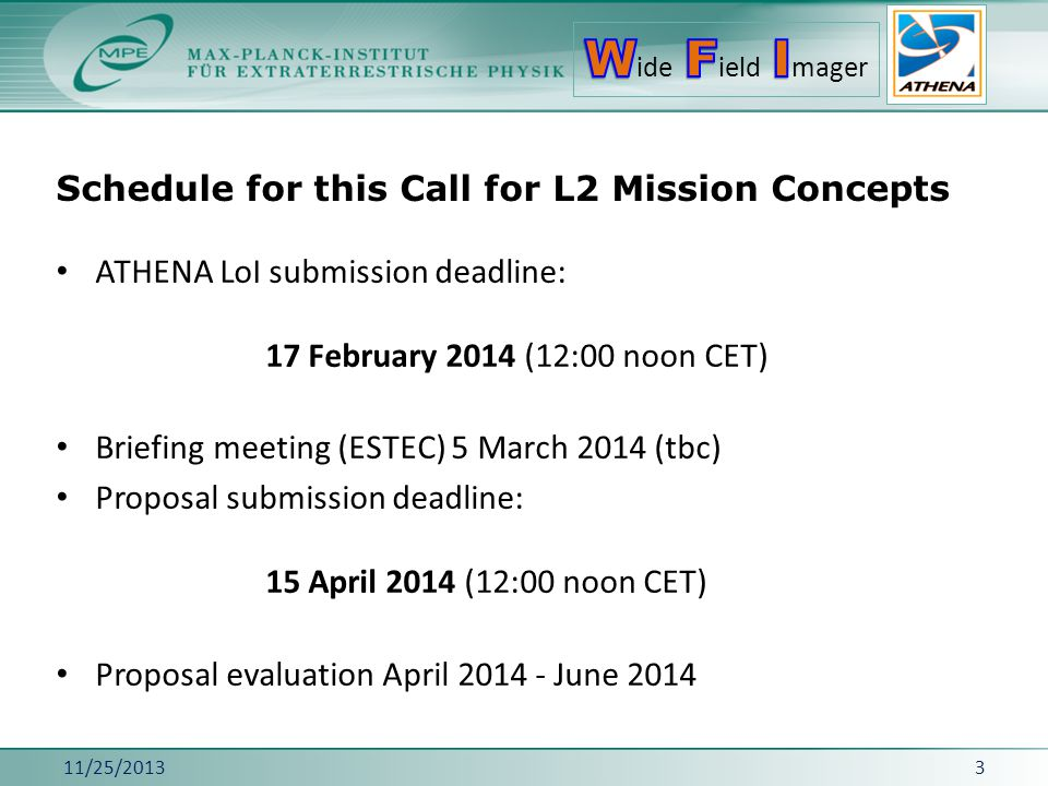 Schedule for this Call for L2 Mission Concepts