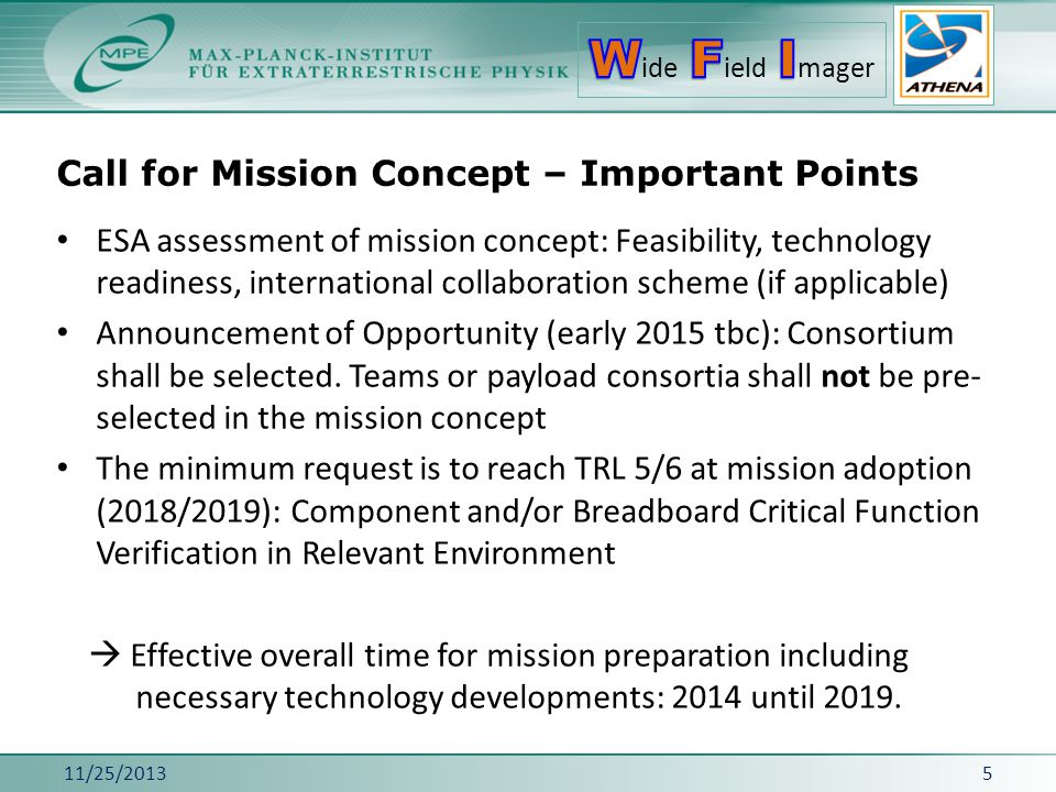 Call for Mission Concept – Important Points