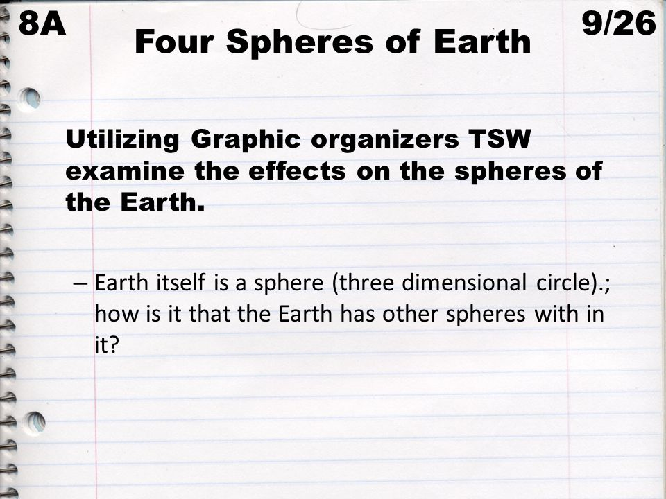 8A Four Spheres of Earth 9/26