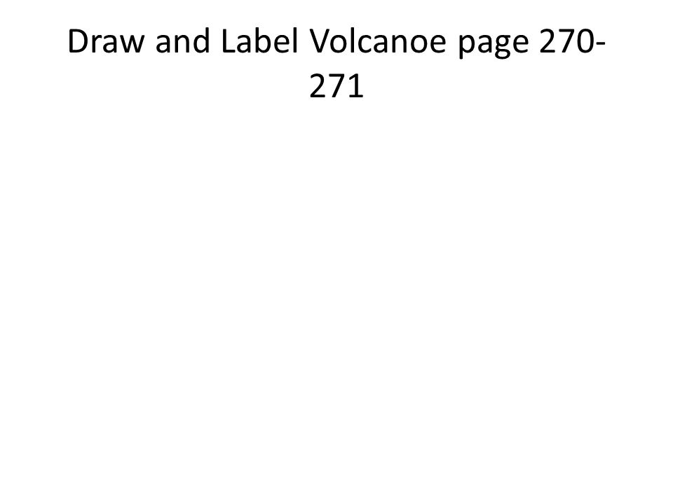 Draw and Label Volcanoe page 270-271