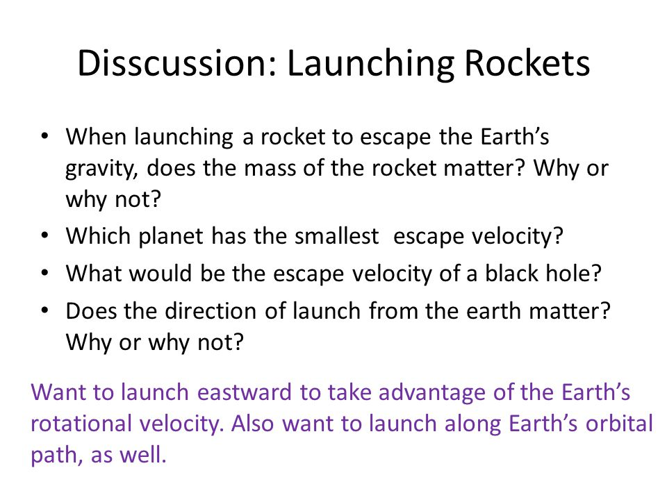 Disscussion: Launching Rockets