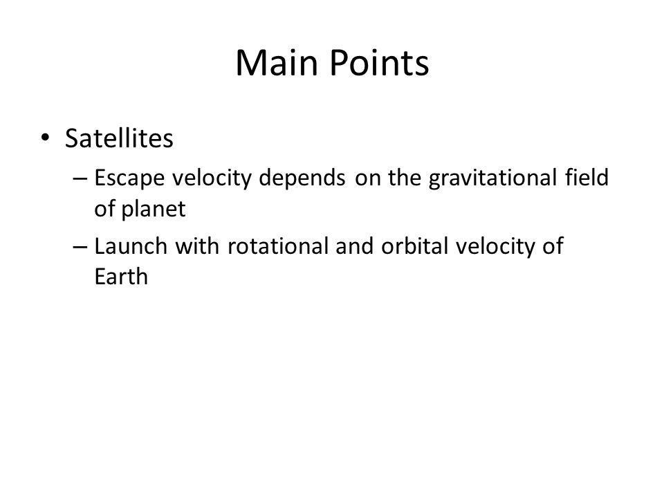 Main Points Satellites