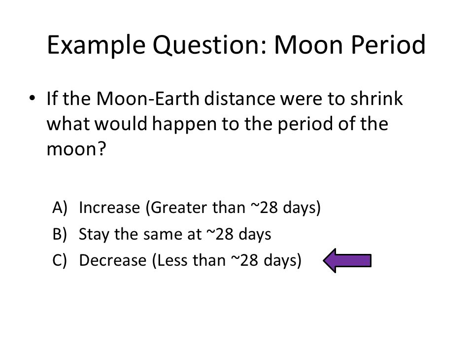 Example Question: Moon Period