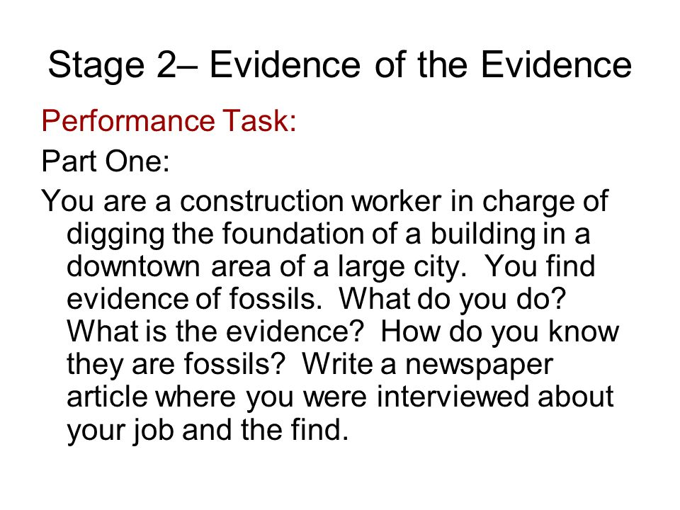 Stage 2– Evidence of the Evidence