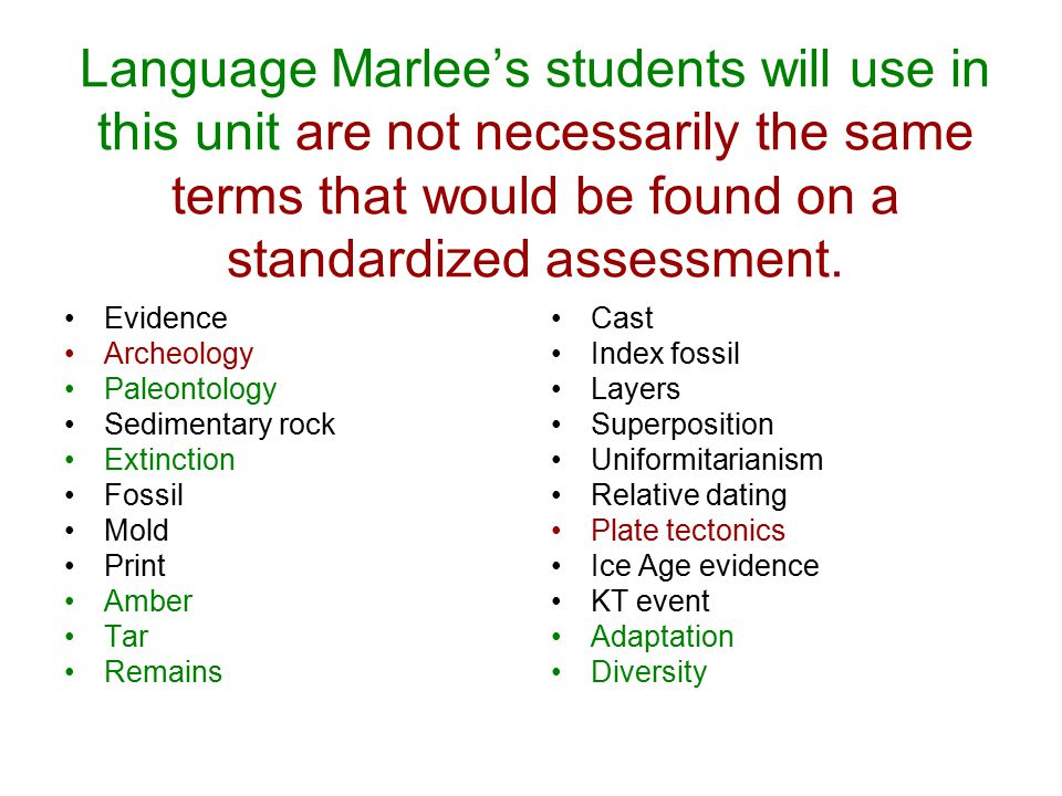 Language Marlee's students will use in this unit are not necessarily the same terms that would be found on a standardized assessment.
