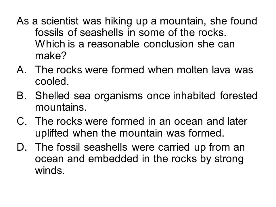 As a scientist was hiking up a mountain, she found fossils of seashells in some of the rocks. Which is a reasonable conclusion she can make