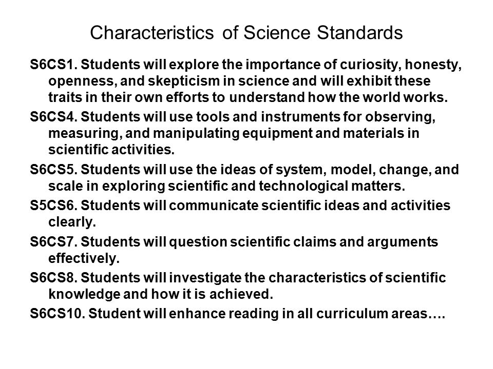 Characteristics of Science Standards