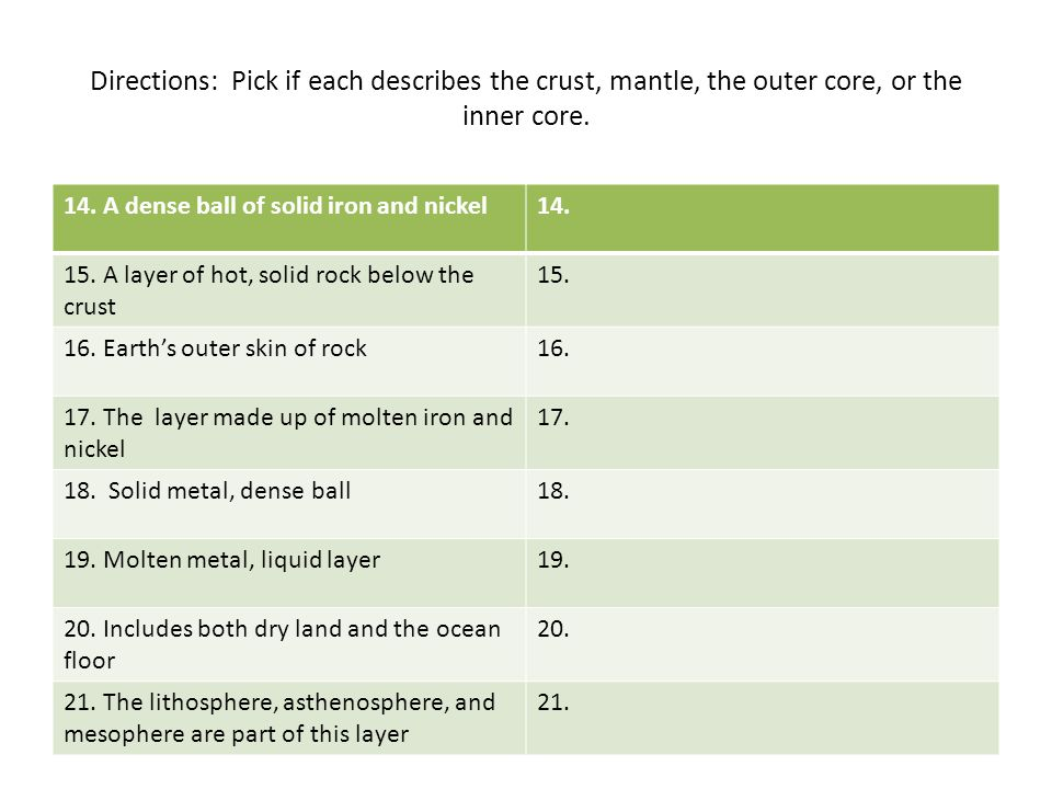 Directions: Pick if each describes the crust, mantle, the outer core, or the inner core.