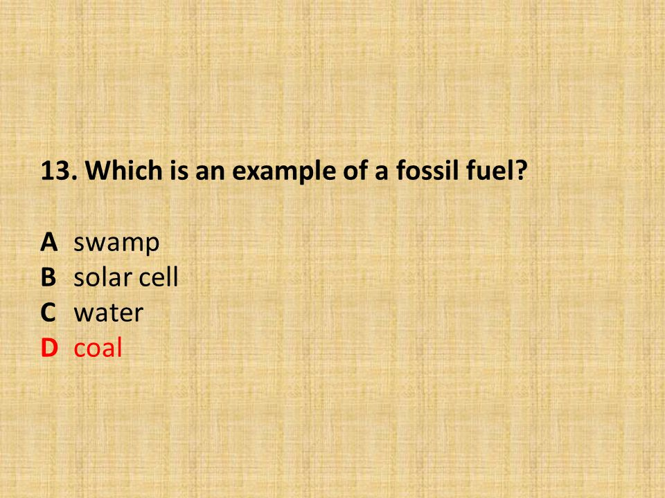13. Which is an example of a fossil fuel. A. swamp B. solar cell C
