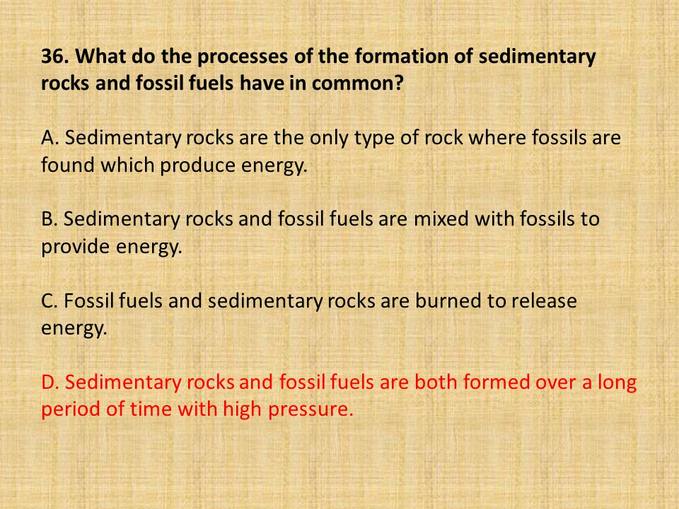 36. What do the processes of the formation of sedimentary rocks and fossil fuels have in common.